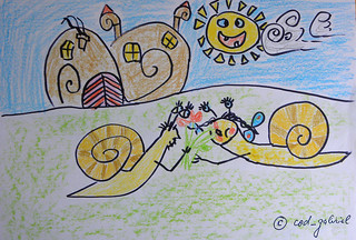 Snail romance - drawing by me for my son
