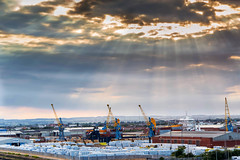 Cranes at dusk (jack cousin) Tags: sky clouds docks nikon cranes hull sunrays containers d610 ononesoftware