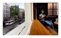 julie (Ccilia Karila FAGON) Tags: window amsterdam happy weed julie escape chilling friendly reality coffeshop metisse