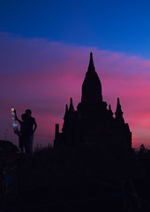 Want a Postcard? (Luminor) Tags: travel sunset people colour temple photography pagoda landscapes asia burma picture postcards myanmar backlit multicolour bagan vario touting leicaimages xvario theleicameet