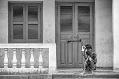 Waiting (Lawrence Cheong) Tags: people bw canon asia cambodia siemreap