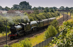 """LNER Class K4 no 61994 """"The Great Marquess"""" & A4 Pacific no 60009 """"Union of South Africa"""" approach Newark Northgate on 02-07-2014 on their return journey to Carnforth. They subsequently failed in the station & had to be rescued later that evening. (kevaruka) Tags: summer sun heritage sunshine train canon flickr transport sunny trains historic preserved newark a4 frontpage britishrail nottinghamshire sunnyday steamtrain k4 2014 networkrail 60009 unionofsouthafrica 61994 newarknorthgate a4pacific thegreatmarquess 5dmk3 5d3 eos5dmk3 70200f28mk2 5diii canoneos5dmk3 hatchetslane canonef70200f28ismk2"""