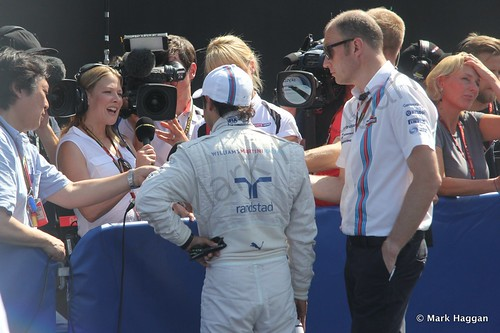 Felipe Massa in the media pen after qualifying for the 2014 German Grand Prix