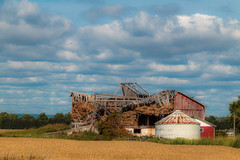 Collapsed Barn with beautiful blue sky, Collingwood Ontario (snypper@rogers.com) Tags: blue sky ontario beautiful clouds barn rural collingwood decay fluffy collapsed