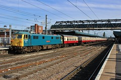 Can on the loose (SlightlyReliable70 2010-2015) Tags: blue station electric train br power 4 working platform rail railway loco trains can class staff gb british locomotive passenger passing cans railways donny 86 rare 87 002 charter doncaster pantograph railfreight gbrf 86259 cl87 87002 new090814donnythencrewe