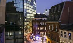 Manchester. Night. Sky. City. (0-1-6-1) Tags: longexposure sky architecture night buildings manchester cityscape citycentre backstreets lightstreaks