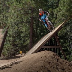 Big Bear Mountain Resorts Bike Park at Snow Summit in Big Bear Lake, California. Riding the Wall.