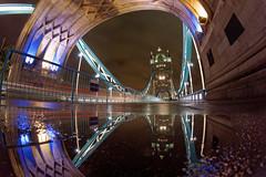 Tower Bridge Reflection (mattrkeyworth) Tags: london night towerbridge nacht fisheye nuit fisheyelens fischauge samyang a7r nightset mattrkeyworth samyangfisheye samyang8mmf28umc sonya7r ilce7r