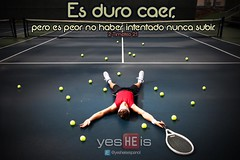Exhausted (CV Latin America) Tags: man net training court tennis practice frustration conceptual athlete fatigue racket exhausted layingdown givingup tennisballs