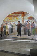 Hyoksin  Station Pyongyang Metro (Ray Cunningham) Tags: art underground subway mural metro mosaic north rail korea transportation pyongyang dprk  coreadelnorte