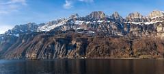 Churfirsten mountain range (Thomas Mülchi) Tags: lakewalenstadt cantonofstgallen switzerland 2017 panorama churfirstenmountainrange mountains snow bluesky eveninglight walenstadt sanktgallen ch