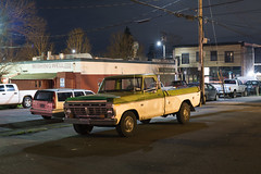 F250 (Curtis Gregory Perry) Tags: ford pickup truck portland oregon f250 night two tone green white nikon d810 stjohns wishing well volvo toyota longexposure 1973 1974 1975 1976 50mm f12