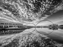 Infinity Bridge Mono (srhphoto) Tags: 2017 fineart infinitybridge m43 microfourthirds monochrome olympus olympusmzuikoed714mmf28pro panasonic panasonicdmcgx8 reflections river rivertees stocktonontees