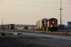 The sunset is showing now.. (Machme92) Tags: railroad sunset ns norfolk tracks rail row bn rails autos ge bnsf railroads norfolksouthern railroading railfanning railfans trainmeet burligrton