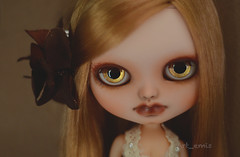 Gold (Art_emis) Tags: new light brown make up altered hair photography carved doll hand dress body handmade ooak painted side feather delight blythe icy custom simply artemis licca scalp parted repaint reshaped