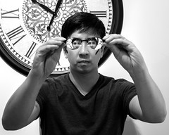 Day 163: Four Eyes (farkasbrain) Tags: portrait blackandwhite clock glasses 365 foureyes
