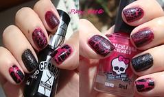 ~ Draculaura (Biotropic) + Mangue (Dote) + Breakage (Top Beauty) ~ (Paty_Net) Tags: rosa preto crackle dote craquelê craquelado texturizado topbeauty biotropic liquidsand