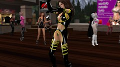 Blades Edge (alexandriabrangwin) Tags: world costumes party woman sexy stockings yellow flesh fetish computer 3d high graphics community shiny dancers dancing boots smooth rubber bdsm belly glossy event gloves secondlife virtual heels latex strings suspenders straps outfits exposed buckles kinky cgi bladesedge xyx hugosdesign alexandriabrangwin