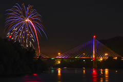 Fireworks (M$ingh.) Tags: travel bridge ohio urban usa lightpainting reflection colors night river landscape fire lights nikon cityscape fireworks colourful independenceday 4thjuly fourthjuly d7100 thechallengegame challengegamewinner thechallengefactory nikonflickraward