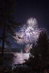 Fireworks on Lake Tahoe (jacobeubank) Tags: trees lake reflection water night fireworks dusk july laketahoe fourthofjuly explosions 4thofjuly independenceday southlaketahoe