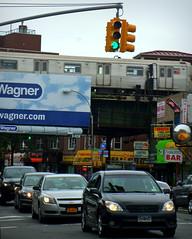 McDonald Avenue,Brooklyn (Robert S. Photography) Tags: street nyc light signs colour cars brooklyn train samsung stores 2014 mcdonaldave st150f