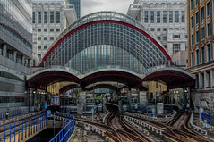 London   |   Canary Wharf DLR (JB_1984) Tags: dlr docklandslightrail station railway railwaystation dome track canarywharf docklands leadinglines lines hdr highdynamicrange westindiaquay londonboroughoftowerhamlets isleofdogs london england uk unitedkingdom nikon d7100 nikond7100