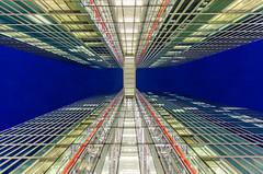 Highlight Towers III (hjuengst) Tags: blue light sky color tower architecture night skyscraper munich mnchen bayern bavaria lights licht clear architektur bluehour colourful blau turm lichter twintower hochhaus architectura wolkenkratzer blauestunde highlighttowers