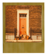 Red Door (Cris Ward) Tags: street door morning red sky cloud house color colour london film westminster wall analog sunrise polaroid sx70 gold early terrace pastel peach doorway instant analogue pimlico impossible impossibleproject