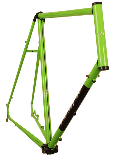 <p>Front view of Waterford 22-Series Disc Touring in Big Bad Green with Black Masked Lugs.  This 66cm frame is design to support fully loaded touring with an unmistakable style.</p>
