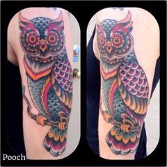 Did this owl today on my good friend Sarah Jane #owltattoo #owl #alteredstatetattoo #eldubink #westpalmbeachtattoo #pooch_art @neotatmachines @tattooculturemagazine #traditionaltattoo