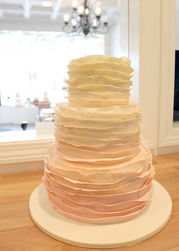 Ombre Ruffle Peach Wedding Cake