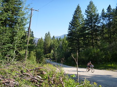 Howard Grinding up the Mining Road (RSpinnaKing) Tags: road atlanta party mountain hot get bike river ride time rad fork idaho boise route dirt springs middle touring featherville limberlost bikepacking