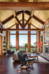 Great Room - Washington Timber Frame Home (PrecisionCraft Log & Timber Homes) Tags: trees mountain horizontal digital rural pond exterior interior small location size patio elements residential orientation firepit guesthouse outbuilding corrugatedsteel woodsiding 01basicmeta 04style 05spaces 06environment 07materials 02propertytype