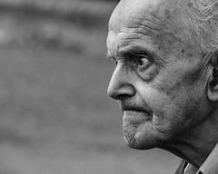 Considering (pootlepod) Tags: street blackandwhite man male monochrome closeup photography think thinking stare pensive staring wondering tense portarait stphotographia