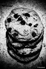 cookie stairs 3 (blacqbook) Tags: blackandwhite food macro texture cookies closeup dessert concrete four flat sweet top biscuit snack trinidad junkfood blacqbook stacked baked chocolatechips
