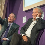 Alex Salmond on stage with Tom Devine at the Edinburgh International Book Festival
