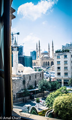 from the window of the municipality (amal MC) Tags: trees lebanon green window beirut mosques municipality downtonw
