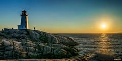 Sunset at Peggy's Cove (kenmojr) Tags: sunset panorama lighthouse canada reflection water rocks novascotia rocky atlantic halifax peggyscove regional maritimes hrm municipality
