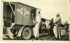 Canadian nurse Madeleine Jaffray (in ambulance) after losing her leg in a bombardment