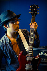 2014-9-10 Guitarist Portrait Studio (kuma_photography) Tags: portrait music hat japan studio japanese glasses guitar player marshall sg amplifier gibson guitarist