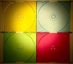 Four color slim CD covers (marcus gordianus) Tags: color colour macro closeup slim cd cover backlit cdcover minimalsim minimalsit