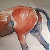 Hunter Horse Haunches (jeanner) Tags: original horse art pen ink watercolor painting bay sketch drawing jumper hunter pferd equestrian thoroughbred equine paard