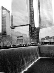 Waterfall (Photographing Travis) Tags: nyc trip travel bw ny newyork memorial manhattan 911 wtc year2013 camerasamsunggalaxynexus