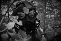 Alice Through Trees (Anna Izanami) Tags: white black forest weird mask gas odd