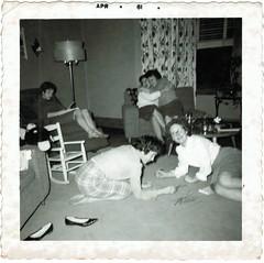 Pick up sticks (sctatepdx) Tags: snapshot teddybear vernacular 1961 pickupsticks havingfun vintageshoes oldsnapshot vintagesnapshot childsrockingchair party1960s