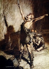 """Nothung! Nothung! Conquering sword!""  Art by Arthur Rackham (lhboudreau) Tags: art illustration book artist drawing illustrations drawings books sword illustrator wagner siegfried 1911 bookillustrations rackham firstedition illustratedbooks doubleday richardwagner illustratedbook arthurrackham nothung thetwilightofthegods twilightofthegods doubledaypageco firstamericanedition doubledaypage bookillustator"