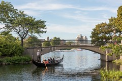 Venice in Boston (michaelpaixao) Tags: bridge blue venice trees tree water beautiful leaves boston stone skyline river back leaf nikon go under relaxing gondola d810