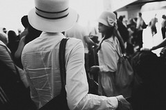 A freedom unknown (Sator Arepo) Tags: trip blackandwhite hat ferry canon back hats streetphotography traveller 5d greekislands suitcase cyclades markii agathachristie 1635mm