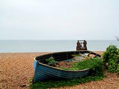 Abandoned boat (pefkosmad) Tags: uk sea vacation england sky holiday abandoned beach strand sussex boat brighton weekend decay horizon shingle overcast resort southcoast paralia
