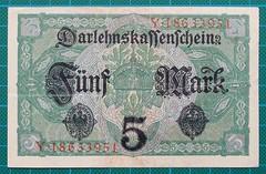 1917-DARLEHNSKASSENSCHEIN-FUNF-MARK-REVERSE-Y18633951-49-D16 (noteworthycollectibles) Tags: germany paper deutschland mark silk imperial currency banknote notgeld seiden pfennig hyperinflation badische reichsbank emergencymoney darlehnskasse